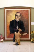 Portrait of martyred Roman Catholic Archbishop Oscar Romero in Metropolitan Cathedral of the Holy Savior in San Salvador.
