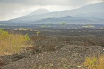 Quetzaltepec volcanic lava field with El Picacho Peak in background near San Salvador