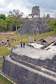 Mayan ruins of Temple II from North Acropolis on Great Plaza of Tikal