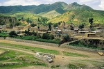 Village in heavily eroded Loess country of Shanxi Province.
