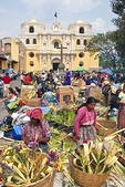 Mayan women hand-crafting palms in front of Iglesias La Merced church in Antigua to be sold for Holy Week (Semana Santa)