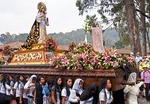 Holy Week (Semana Santa) float with the Virgin Mary carried by women in the religious procession in Antigua