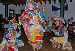 Mayan folkloric dancers in Antigua restaurant performing ceremony that mocked Spaniards and other Europeans