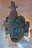 Replica of Mayan jade mask from Tikal tomb, found in 174 pieces, on display at La Casa del Jade (Jade Museum) in Antigua