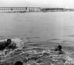 Chairman Mao Zedong swimming Yangtze River at Nanjing in 1966 at beginning of Cultural Revolution.