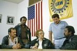 United Auto Workers local officers meeting in union hall in Pontiac, Michigan, in 1985.