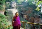Buddhist Monk at Leshan Giant Buddha in Sichuan province