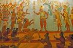 Mural at Antigua's Casa Santa Domingo Convent is replica of Mayas of Bonampak mural in Chiapas, Mexico, depicting Mayan mythology