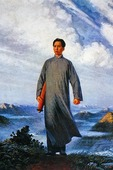 """Mao Zedong Goes to Anyuan"" This photograph is of a poster of the famous painting by Liu Chunhua that was promoted by Jiang Qing as a model painting during the Cultural Revolution in 1967.  The painting is now considered a national cultural relic, the first painting to receive that designation, and was purchased by the Construction Bank of China for $660,000 in 1998."