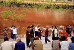 Beijing, China: Morning exercise group dancing along wall of Jingshan Park.
