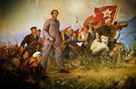 Painting of Mao Zedong as Secretary of short-lived Hunan Soviet leading small peasant battalion during Autumn Harvest Uprising in September 1927