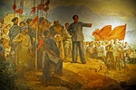 Painting of Mao Zedong on Jingganshan, 1927-28, on the Jiangxi-Hunan border where he established a 