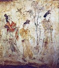 Tang dynasty painting of beautiful aristocratic women