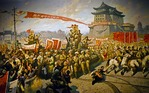 Peaceful liberation of Beijing on January 21, 1949, with Red Army passing Qianmen Gate