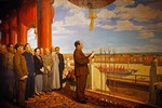 Communist Party Chairman Mao Zedong proclaiming the founding of the Peoples Republic of China on the rostrum of Tiananmen Gate in Beijing on October 1, 1949