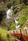 Tropical forest waterfall along the Kuranda Scenic Railway from Cairns in North Queensland