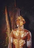 Portrait of Australian Aborigine dancer at Tjapukai Aboriginal Cultural Park in Kuranda