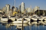 Vancouver's Skyline and False Creek Marina from Granville Island