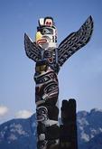 Totem pole in Stanley Park's Totem Park in Vancouver