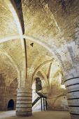 Crypt of underground Knights Hall in maritime capital of the Crusader Kingdom of Akko (Acre)