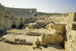 Ruins of ancient Roman amphitheater at Crusader city of Caesarea
