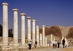 Columns on Byzantine Palladius Street at Beit She'an archaeological site in the Jordan Valley
