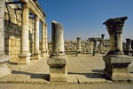 Ruins of Ancient Synagogue at Capernaum in City of Jesus