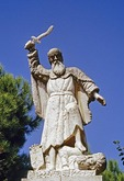 Statue of Prophet Elijah vanquishing Ba'al at Carmelite Mission on Mount Carmel