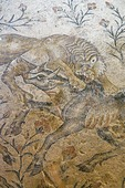 Detail of Dionysiac mosaic depicting lion attacking bull from floor of Roman period house in Zippori archaeological site