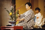 Nageire style flower arranging demonstration at Gion Corner in Kyoto