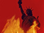 Photo Illustration: Liberty in flames