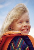Young blond Icelandic girl at Husavik
