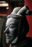 Xian, China:  Replica of terra cotta warrior from the Qin excavations in Xi'an