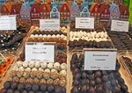 Belgian chocolates in Bruges (Brugge) shop window on Dijver street