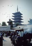 Asakusa Shinto Shrine with pagoda of Senso-ji Buddhist Temple in background in Tokyo