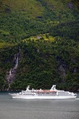 German-owned MS Astor cruise ship operated by Transocean Tours in Norway's Storfjord