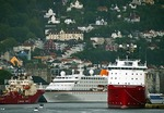 Bergen harbor with German cruise ship MS Columbus at dock in center (built to fit U.S. Great Lakes locks)