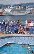 Costa Magica cruise ship in port of Oslo, Norway, as seen from rear pool deck of the Holland America Line's Eurodam.