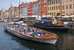 Copenhagen canal cruise tour boat in Nyhavn