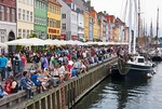 Weekend crowd in Copenhagen's popular Nyhavn