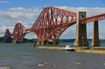 Scotland's iconic 19th century cantilevered Forth Railway Bridge over the Firth of Forth at South Queensferry