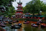 Dragon Boat Lake in Tivoli Gardens amusement park in Copenhagen