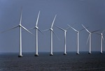 Wind turbines on North Sea coast of Denmark near Copenhagen.