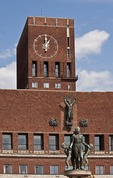 Oslo City Hall's right tower with clock