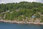 Summer cabins along the Oslofjord on Norwegian coast