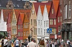 Bergen's old wharf district, Bryggen, wooden warehouse facades in Hanseatic styles and colors