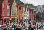 Bergen's Old Wharf district, Bryggen, wooden warehouse facades in Hanseatic styles & colors