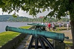Christiansholm Fortress cannon and tourists at Kristiansand, Norway