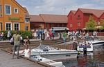Kristiansand's popular Fish Market with boat marina, restaurants, shops