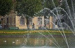 Bergen's Lille Lundegardsvann ornamental lake with fountain